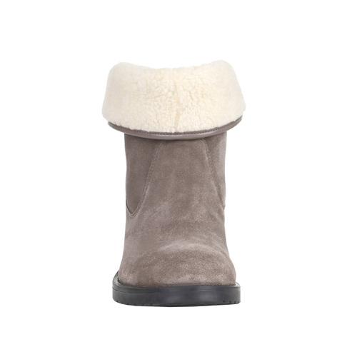 Scarpe in pelle da donna con lacci bata, grigio, 693-2381 - 16