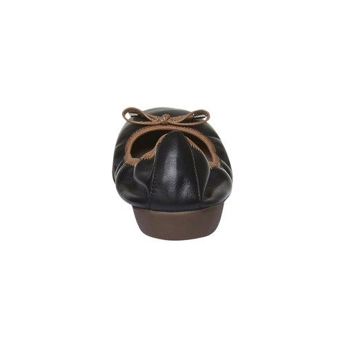 Ballerine nere di pelle bata, nero, 524-6485 - 17