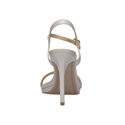 Sandali verniciati da donna con cinturino alla caviglia bata, beige, 761-8550 - 17