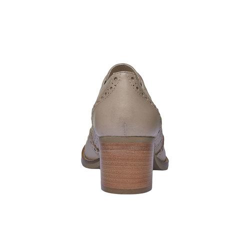 Scarpe basse di pelle con tacco bata, giallo, 624-8386 - 17