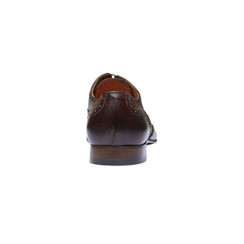 Scarpe basse da uomo in pelle con decorazioni shoemaker, marrone, 824-4145 - 17