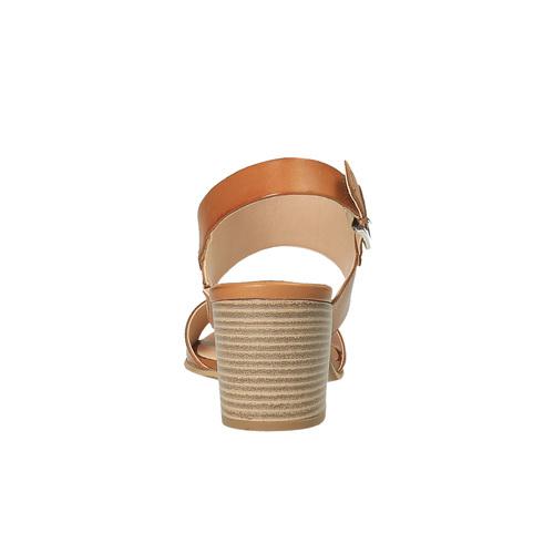 Sandali di pelle con tacco ampio bata, marrone, 664-3205 - 17