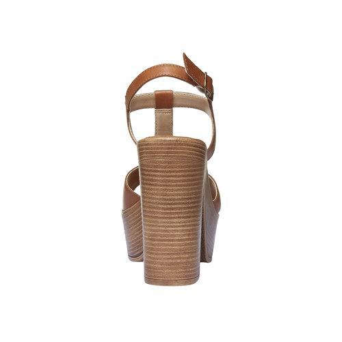Sandali da donna con tacco massiccio bata, marrone, 764-4509 - 17