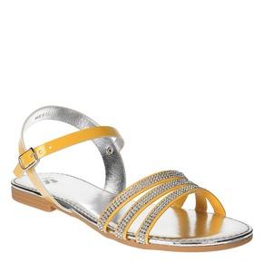 Sandali da ragazza con strass mini-b, giallo, 361-8175 - 13