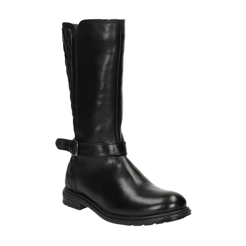 Stivali di pelle con cuciture mini-b, nero, 394-6235 - 13