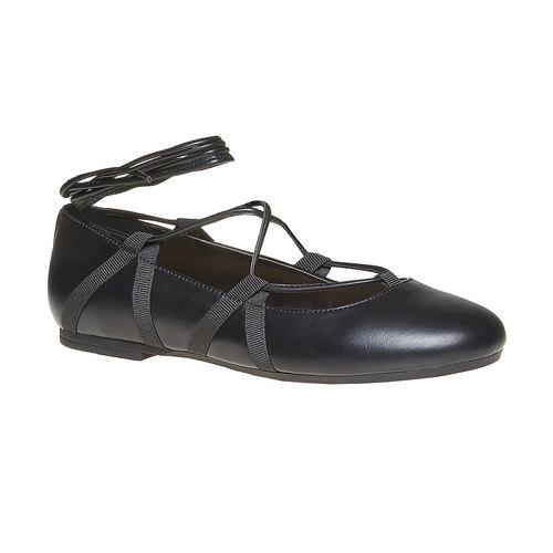 Ballerine da donna con lacci bata, nero, 521-6142 - 13