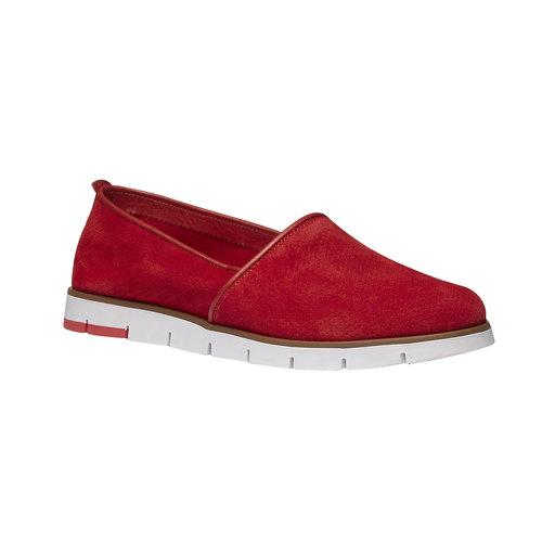 Slip-on di pelle con perforazioni flexible, rosso, 513-5200 - 13