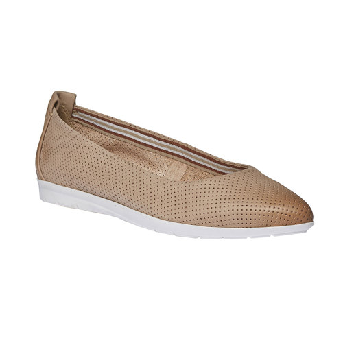 Ballerine di pelle con perforazioni bata-light, marrone, 526-3486 - 13