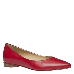 Ballerine da donna in pelle a punta bata, rosso, 524-5493 - 13