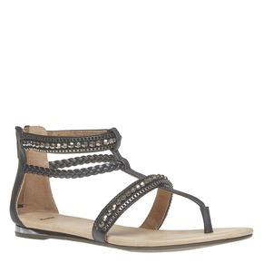 Sandali da donna con strisce decorate bata, nero, 561-6330 - 13