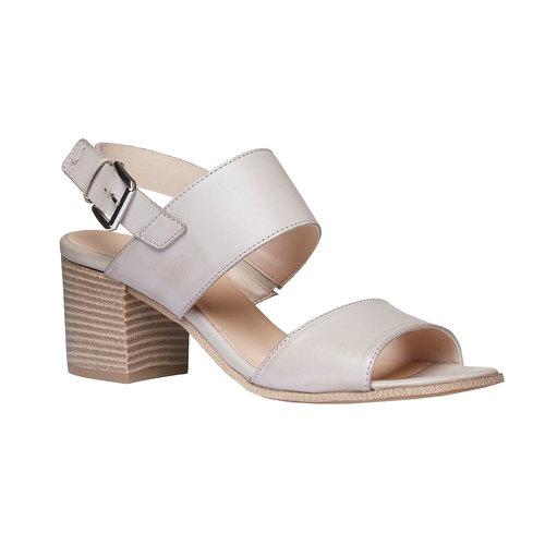 Sandali di pelle con tacco ampio bata, grigio, 664-2205 - 13
