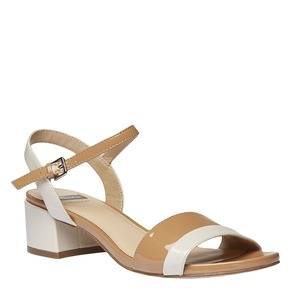 Sandali con tacco ampio bata, giallo, 661-8112 - 13