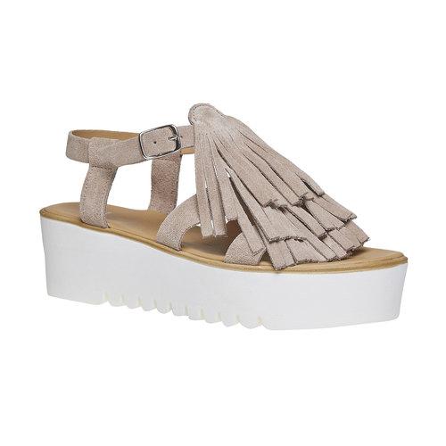 Sandali con frange e flatform bata, grigio, 663-2223 - 13