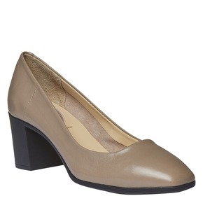 Décolleté da donna in pelle flexible, grigio, 624-2706 - 13
