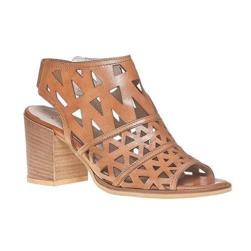 Sandali di pelle con tacco ampio bata, marrone, 764-3532 - 13