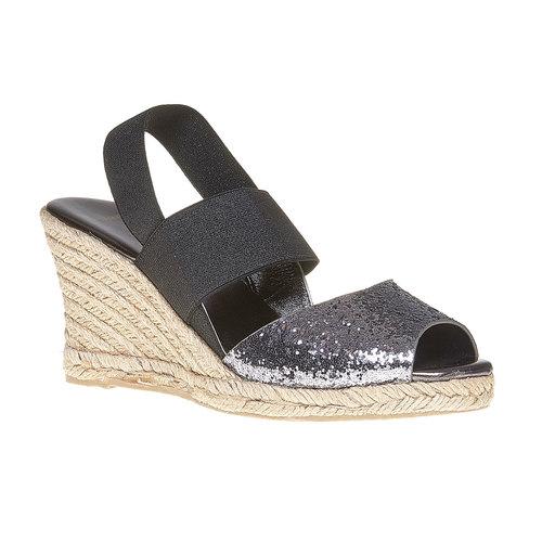 Sandali con tacco a zeppa e glitter bata, nero, 769-6548 - 13