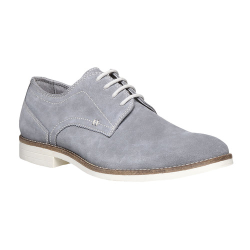 Scarpe basse di pelle in stile Derby bata, grigio, 823-2558 - 13