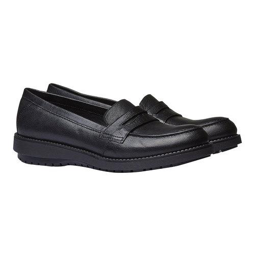 Scarpe di pelle in stile Loafer flexible, nero, 514-6185 - 26