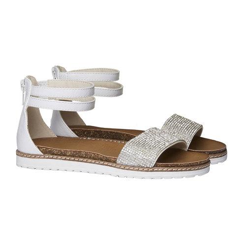 Sandali da bambina con cinturino alla caviglia mini-b, bianco, 361-1161 - 26