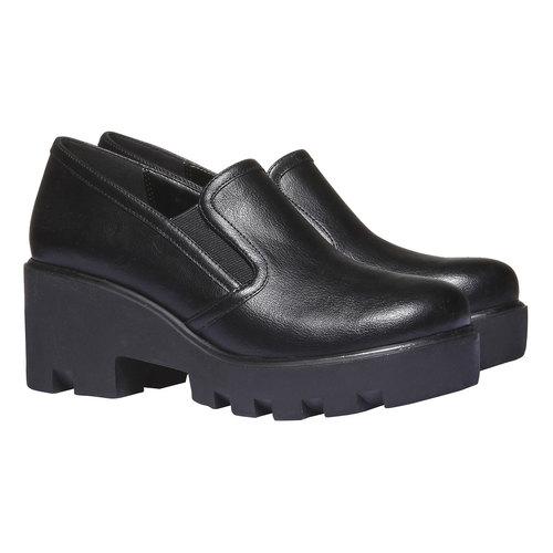 Slip-on con suola massiccia bata, nero, 521-6216 - 26