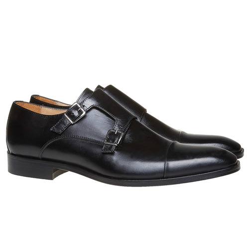 Scarpe basse di pelle in stile Monk bata-the-shoemaker, nero, 814-6159 - 26