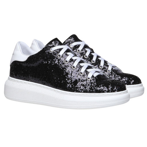 Sneakers da donna con glitter north-star, nero, 541-6223 - 26