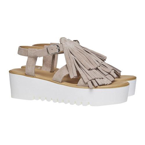 Sandali con frange e flatform bata, grigio, 663-2223 - 26