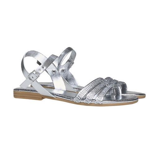 Sandali da bambina con strisce mini-b, argento, 361-1175 - 26