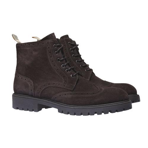Scarpe in pelle alla caviglia con suola massiccia bata, marrone, 893-4289 - 26