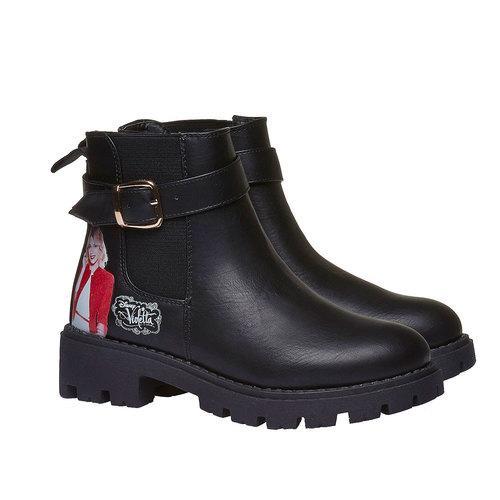 Scarpe alla caviglia con suola appariscente violetta, nero, 391-6204 - 26