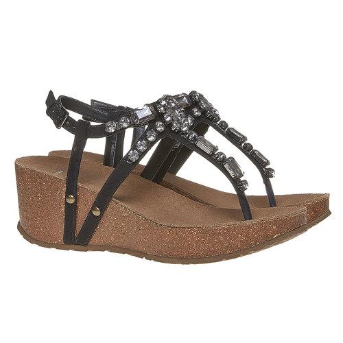 Sandali con strass e plateau bata, nero, 669-6214 - 26