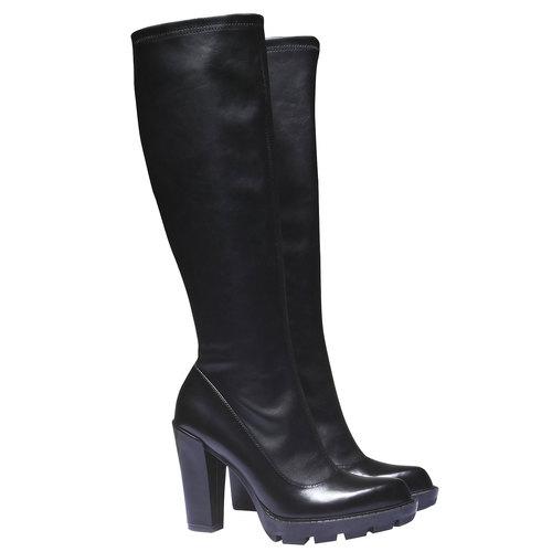 Stivali con suola massiccia bata, nero, 791-6591 - 26