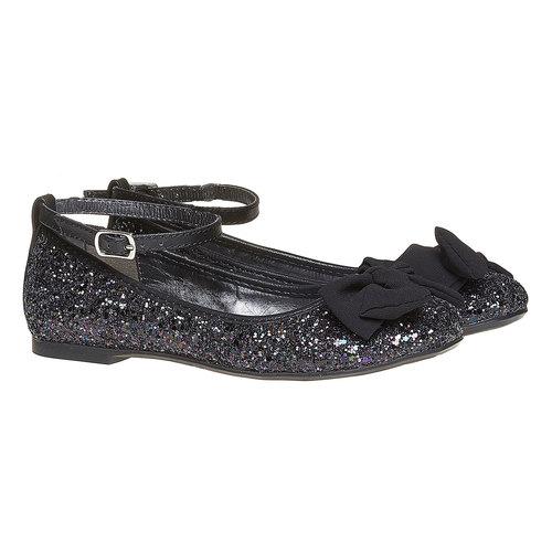 Ballerine da ragazza con glitter mini-b, nero, 329-6176 - 26