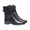 Scarpe di pelle alla caviglia con cuciture bata, nero, 594-6160 - 26