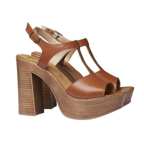 Sandali da donna con tacco massiccio bata, marrone, 764-4509 - 26