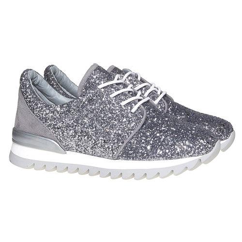 Sneakers da donna con glitter north-star, argento, 549-1262 - 26
