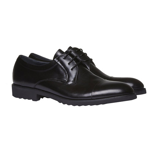 Scarpe stringate di pelle in stile Derby bata, nero, 824-6398 - 26