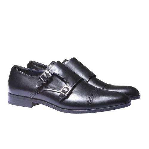 Scarpe basse di pelle in stile Monk bata, nero, 814-6107 - 26