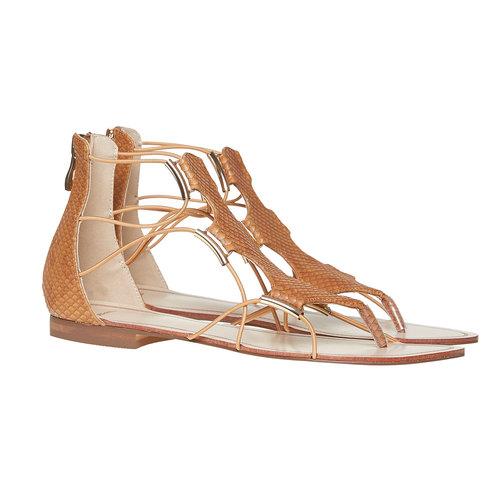 Sandali da donna di pelle bata, marrone, 561-3307 - 26