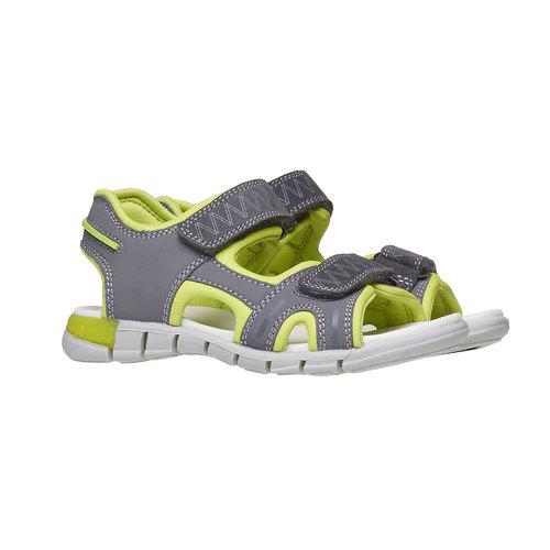 Sandali da bambino con strisce di pelle mini-b, grigio, 264-2166 - 26