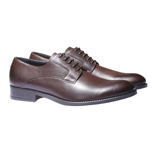 Scarpe basse di pelle in stile Derby bata, marrone, 824-4874 - 26