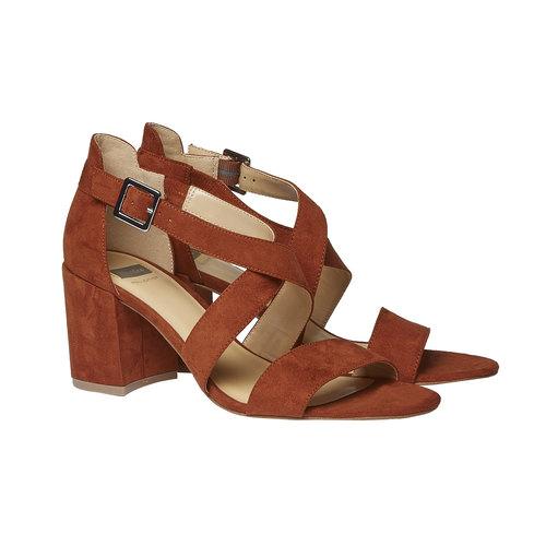 Sandali dal tacco ampio bata, marrone, 769-3317 - 26