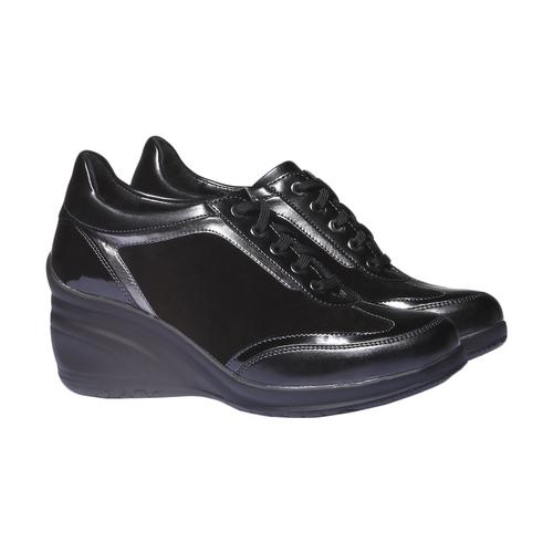 Sneakers con zeppa bata, nero, 621-6120 - 26