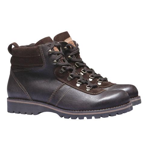 Scarpe di pelle alla caviglia bata, marrone, 894-4343 - 26