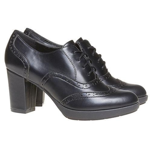 Oxford da donna con tacco bata, nero, 721-6225 - 26