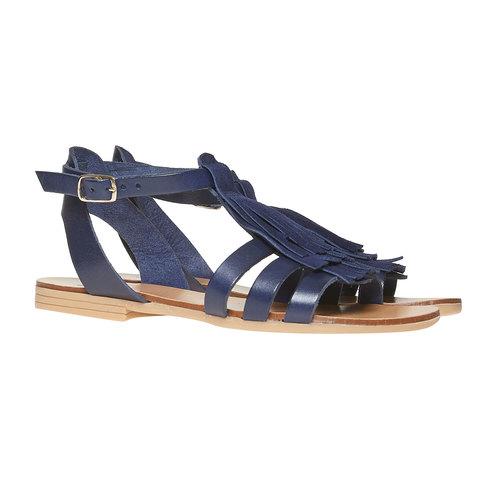 Sandali da bambina con cinturino in pelle alla caviglia mini-b, viola, 364-9190 - 26