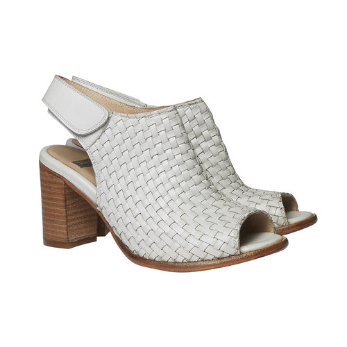 Sandali di pelle dal tacco ampio bata, bianco, 764-3434 - 26
