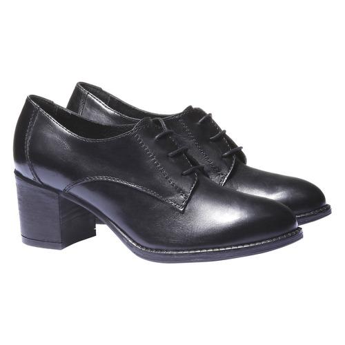 Scarpe basse da donna in pelle con tacco bata, nero, 724-6788 - 26