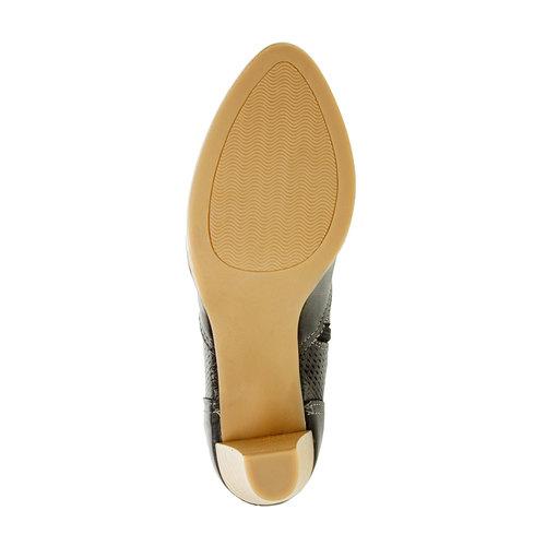 Scarpe basse di pelle con tacco bata, nero, 724-6932 - 26