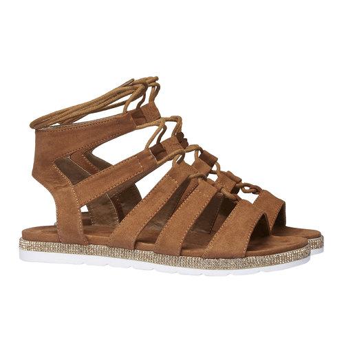 Sandali da donna di tipo gladiatore bata, marrone, 569-3388 - 26